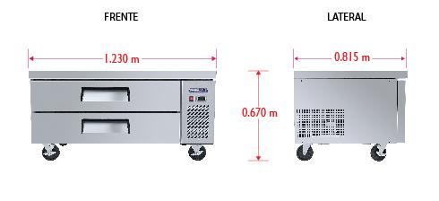 Dim%20BRS 123 2C Base refrigerada para colocar equipos de cocción; con 2 cajones y 2 insertos enteros y 3 de 1/6 cada uno.
