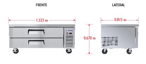 Dim%20BRS 132 2C Base refrigerada para colocar equipos de cocción; con 2 cajones y 3 insertos enteros cada uno.