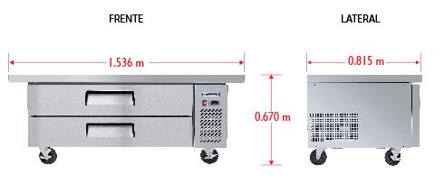 Dim%20BRS 153 2C Base refrigerada para colocar equipos de cocción; con 2 cajones y 3 insertos enteros cada uno.