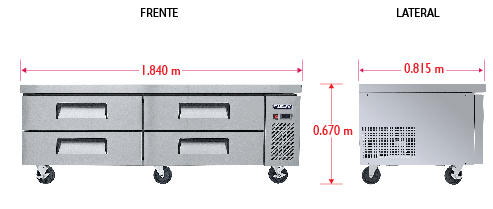 Dim%20BRS 184 4C Base refrigerada para colocar equipos de cocción; con 4 cajones y 2 insertos enteros cada uno