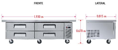 Dim%20BRS 193 4C Base refrigerada para colocar equipos de cocción, con 4 cajones y 2 insertos enteros cada uno.