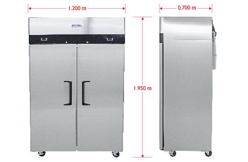 Dimensiones%20C&F Cool And Freeze Congelador y Refrigerador con 2 Puertas Sólidas, 6 Parrillas Plastificadas y un volumen interior de 30 Pies Cúbicos